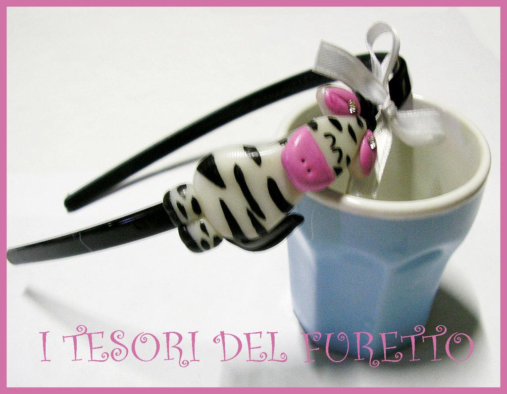 Cerchietto ZEBRA idea regalo Fimo Cernit