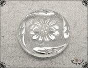 Bottoni in nylon, modello fantasia floreale, trasparenti/argento- mm. 13, 2 fori - 5 pezzi.