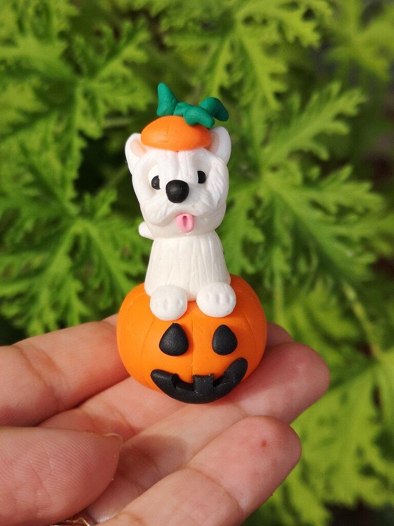 Decorazione per Halloween cane west highland terrier nella zucca, miniatura cane regalo per amante dei cani, regalo halloween cane