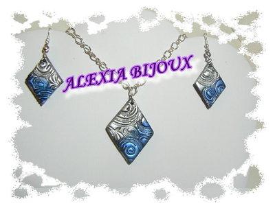 Parure rombo argento e blu