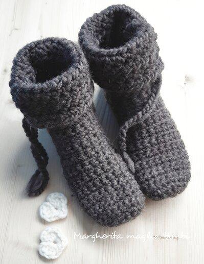 Stivaletti lana donna - pantofole stivaletto - calzettoni a maglia - fatti a mano