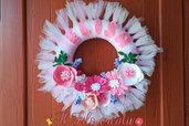 Fiocco Nascita Bambina Ghirlanda dietroporta a fiori con nome personalizzato