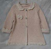 Cardigan/cappotto all'uncinetto bambina, taglia 12 - 18 mesi