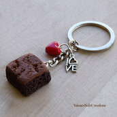 Portachiavi brownies creato a mano in fimo