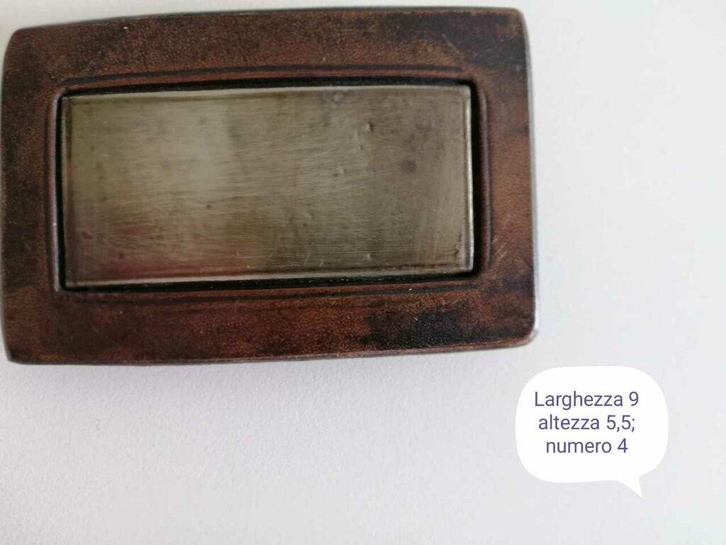 Fibbia cuoio vintage rettangolare con applicazione in metallo