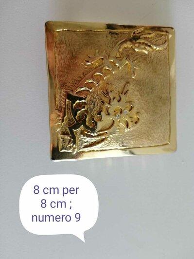 Fibbia metallo vintage quadrata con drago