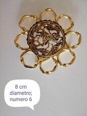 Fibbia metallo vintage tonda a fiore