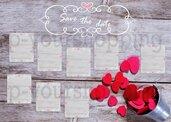 Tableau Mariage tema cuori love matrimonio 50x70 forex 5mm segnatavolo in omaggio