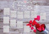 Tableau Mariage tema cuori love matrimonio 70x100cm forex 5mm segnatavolo in omaggio