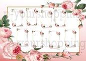 Tableau Mariage tema fiori love matrimonio 50x70 forex 5mm segnatavolo in omaggio