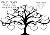 Tableau Mariage tema albero della vita matrimonio 50x70 forex 5mm segnatavolo in omaggio vari colori