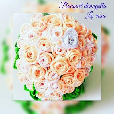 Bouquet Romantico Sposa.Bouquet Da Sposa Romantico Con Rose In Raso Feste Matrimonio
