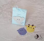 Bustine portaconfetti animaletti giungla Simpatiche Faccine personalizzabili per bimbo battesimo compleanno nascita