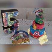 Kit compleanno torta finta cake topper lettere 3d Avengers Unicornio lol surprise