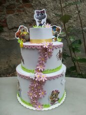 Torta scenografica fiori compleanno Gatti Bimba o bimbo
