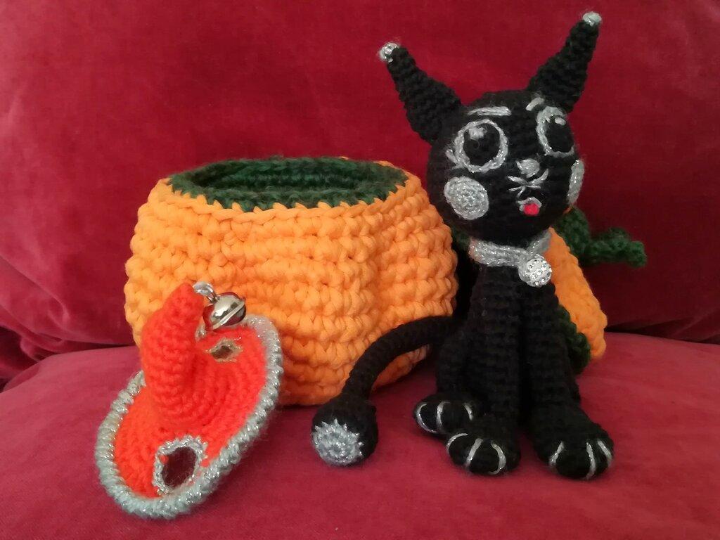 The black cat Kasper§Hand Knitted Crochet Toys