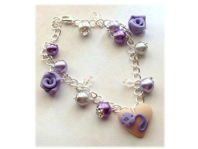 Bracciale rose cuore violet