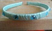 Cerchietto capelli bimba verde acqua e stickers blu
