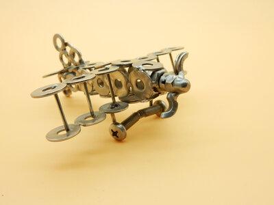 Airplane aereo scultura acciaio regalo aviazione modellismo biplano made in italy regalo pilota art metal riciclo fatto a mano