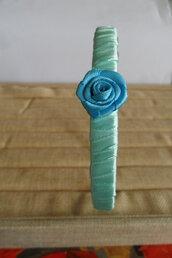 Cerchietto capelli bimba verde acqua con farfalla e rosa blu