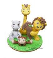 Cake topper  Animaletti leone giraffa ippopotamo primo compleanno bimbo bambino