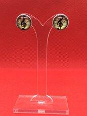 """Orecchini Chiave di violino a lobo """"Music is my life"""" in Acciaio inox e cabochon in vetro 12mm"""