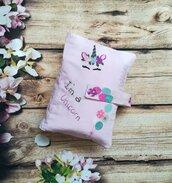 Portacambio da borsa in cotone trapuntato rosa fatto a mano