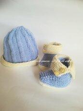 Scarpine stivaletto e cappello bimbo in lana merinos