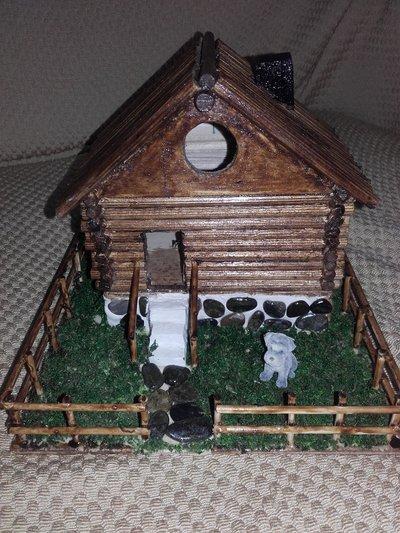 Casetta In legno, miniatura artigianale, presepe fai da te