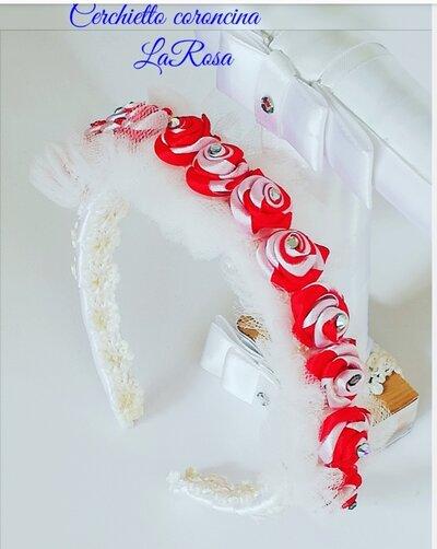 Cerchietto per capelli bimba con  roselline rosse