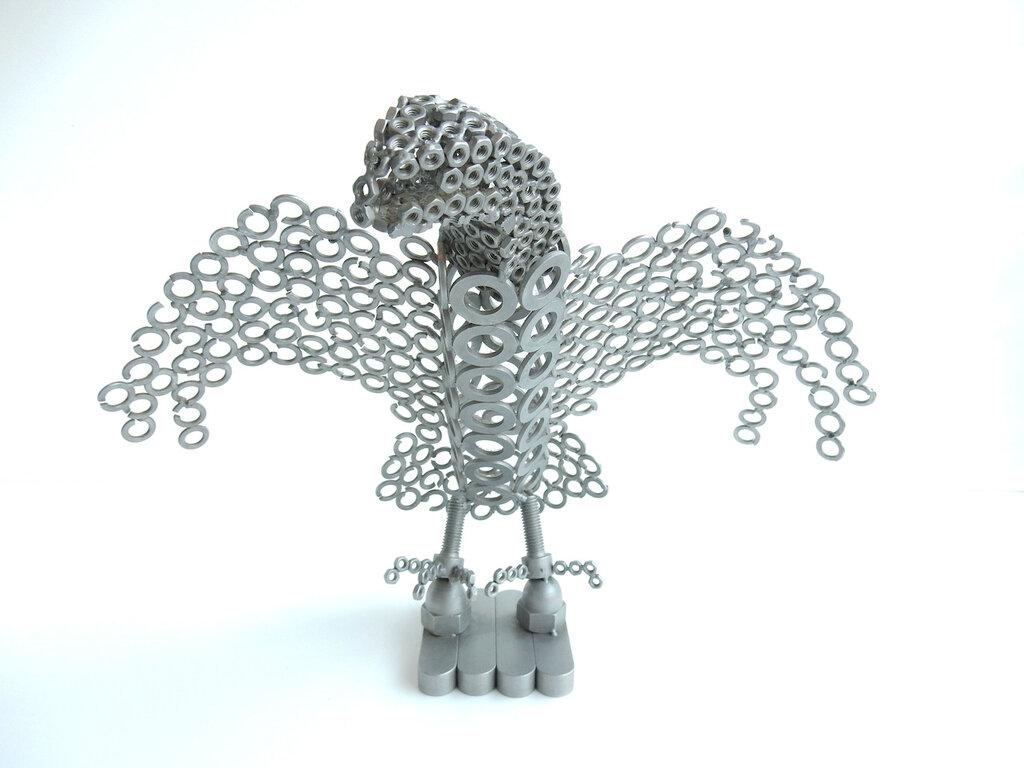 Aquila in acciaio misure altezza 28 cm-larghezza 34 cm Metal sculpture rapace scultura in acciaio regalo aquila arte oggetti da collezione