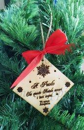 3X Decorazione Albero Natale Personalizzata Regalo Legno Inciso