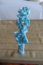Cerchietto capelli bimba azzurro con 3 rose