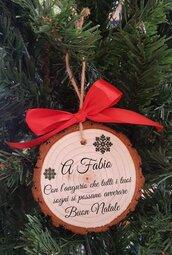 3X Decorazione Albero Natale Personalizzata Regalo Legno Inciso Tronchetto
