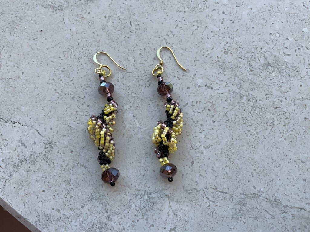 Orecchini pendenti in perline in vetro  Miyuki , pietra naturale ed argento 925 mod. Manuela