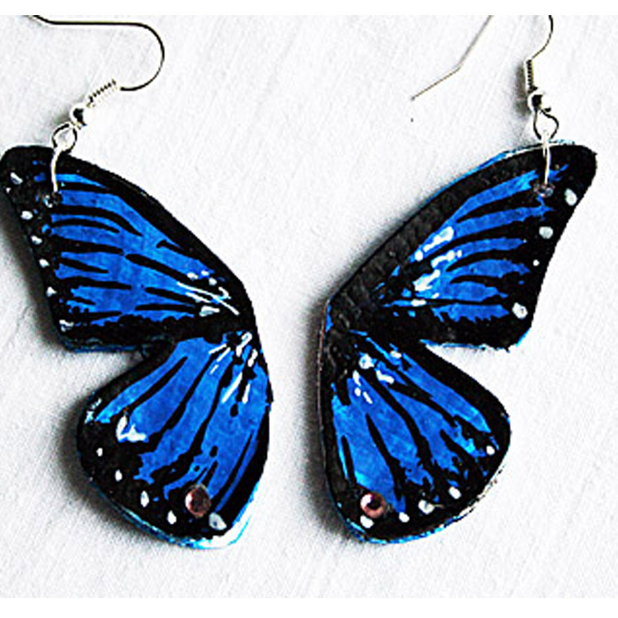 orecchini pendenti in ecopelle dipinti farfalla blu con brillantini fatti a mano