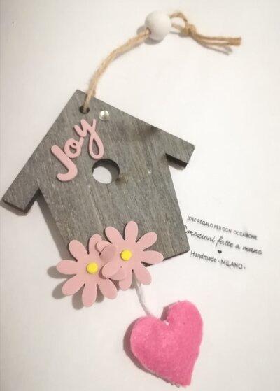 Home decor Casa Welcome. Rosa shabby grigio. Cuore legno