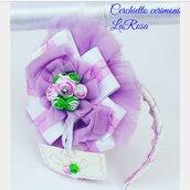 Cerchietto elegante a fiore con rose e tulle