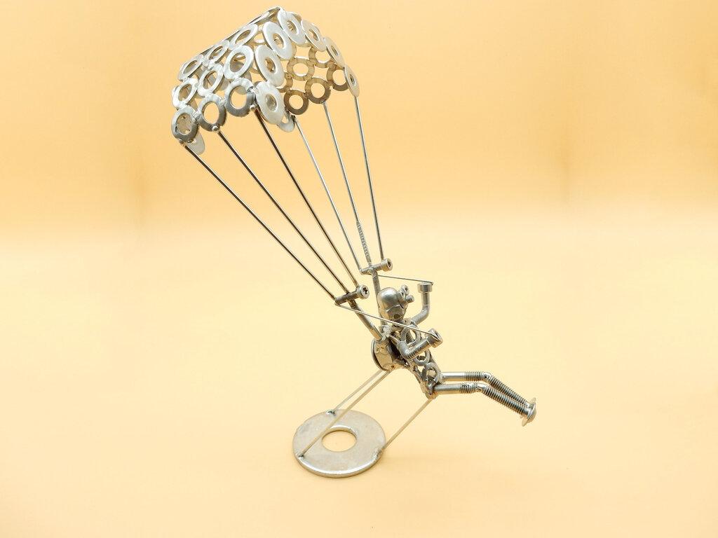 paracadutista regalo paracadutista lancio paracadute ufficiale paracadutista brevetto paracadutista Art metal Metal sculpture scrap metals