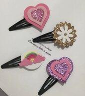Clips mollettine Mollette capelli bimba arcobaleno fiori lettere personalizzate.