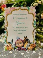 Invito 1 Anno Personalizzato Masha e Orso