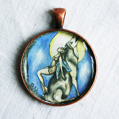 ciondolo animale guida  disegno di lupo fatto a mano  cabochon