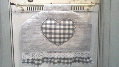 Copriforno per maniglia stretta, copri forno con cuore e pizzo, linea Basic in grigio