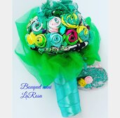 Bouquet rose in tessuto idea regalo