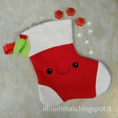 Calza della befana kawai faccina simpatica rosso/bianco