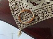 Bracciale semirigido spirale in perline in vetro crema, topazio e terracotta -