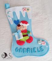 Calza della befana elfo per bimbo personalizzabile celeste