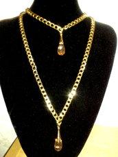 Collana Oro e Gocce Vetro