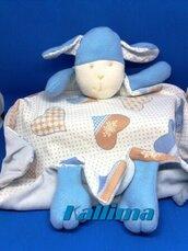 DOUDOU PECORELLA FIOCCO DI NEVE in morbida ciniglia azzurro baby, cotone  e pile fatto a mano