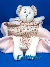 DOUDOU  ORSETTA BIBI in morbida ciniglia rosa baby e pile fatta a mano